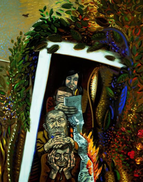 Wolfgang Mattheuer, Man lebt, 1988,  Öl auf Hartfaser, 125 × 100 cm