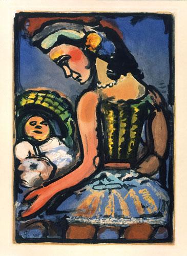 Georges-Rouault_Dors-mon-amour_aus-der-Serie_Cirque-de-l´Étoile-Filante_Farbradierung_1938_45x34xm_Fondation-Georges-Rouault-Paris