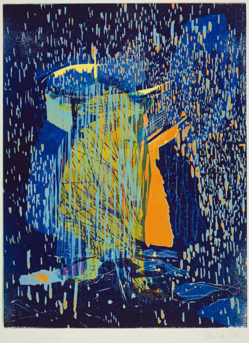 Aus dem Regen, Farbholzschnitt, 2016