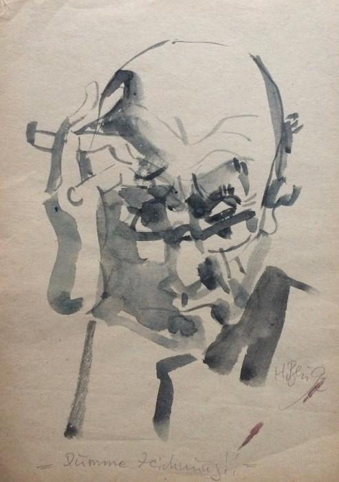 01_Harry Blume, Selbstbildnis, Zeichnung, 1992