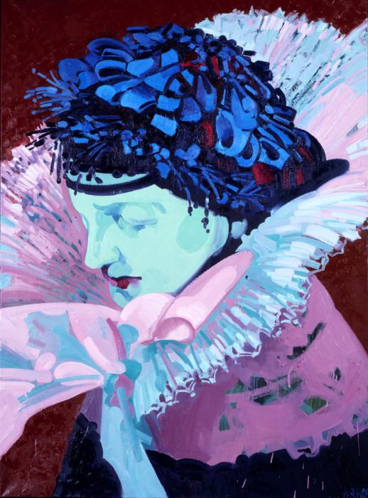 Annette Schröter, Frau in Tracht 17 2004 Öl auf leinw. 180 x 130cm, © VG Bild-Kunst Bonn, 2018 (Unicode-Codierungskonflikt)