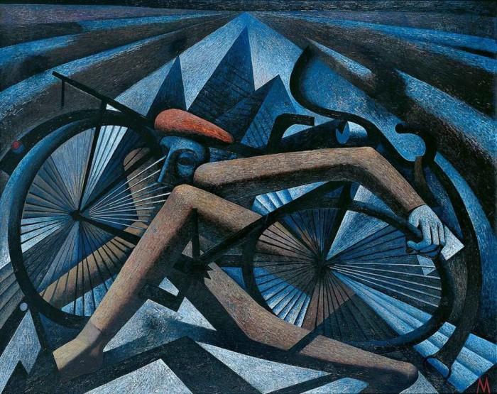 Gerhard Kurt Müller, Radfahrer, 2002_2003, Öl auf Hartfaser, 120 x 150 c...