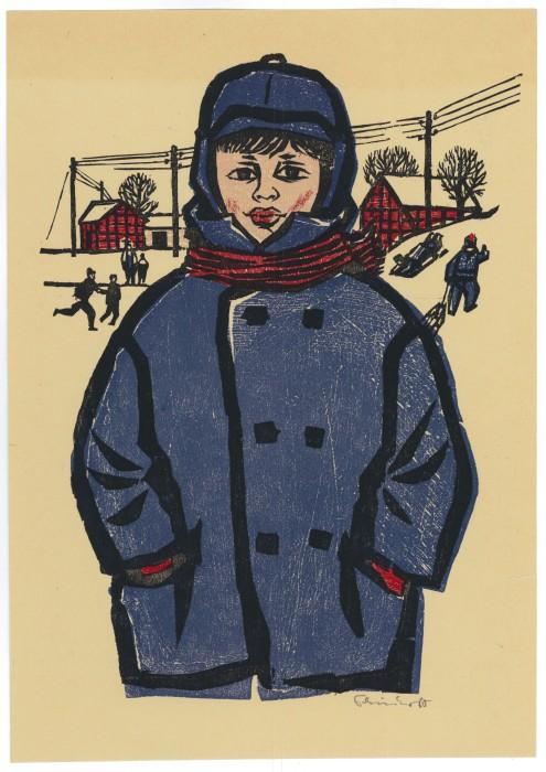 Junge in blauen Mantel 24x35_1960